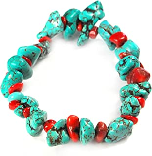 Blue Turquoise & Red Coral Stretch Bracelet 8