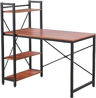 Radelldar Bureau Informatique avec Rangement Table d'ordinateur Petit Espace Table de Bureau avec 4 Etageres à Gauche ou à...