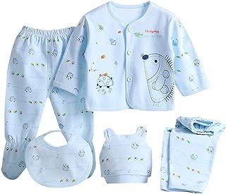 2 Pantaloni Mbbys Tuta Neonato 5 Pezzi Set 0-3 Mesi Completo Bimbo Bimba Maglietta Manica Lungo con Bottoni Cappello Bavaglino Leggera Bambino Bambina Fumetto Outfit