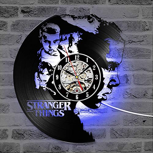 fdgdfgd Multicolor Reloj de Pared 3D Reloj de Disco de Vinilo Estilo Antiguo Negro Colgante LED Reloj clásico Creativo año Nuevo