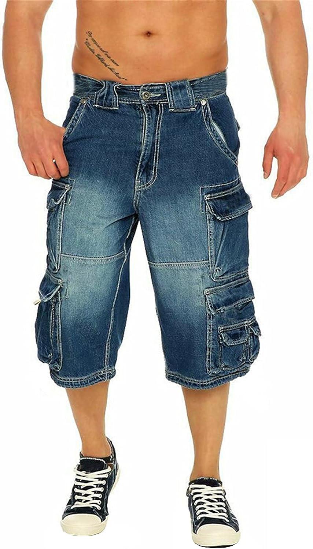 Men's Cargo Denim Shorts Multi Pockets Straight Leg Jeans Short Distressed Loose-Fit Fashion 3/4 Jean Pants (Blue,4X-Large)