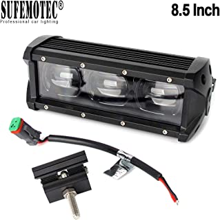 SUFEMOTEC 6D Lens 8.5 Inch 30W Single Row LED Light Bar CREE Chips Flood Beam 4x4 Off Road LED Driving Lights For Car Jeep Trailer Truck Boat 4X4 SUV UTV Marine 12V 24V Work Fog Lamp, 2 years Warranty