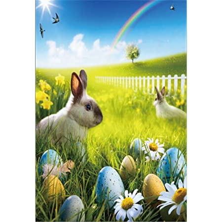 Leyiyi 3x5ft Cartoon Happy Easter Backdrop Cute Rabbits Colorful Eggs Falling Flowers Photography Background White Railing Green Grass Vinyl Photo Studio Props