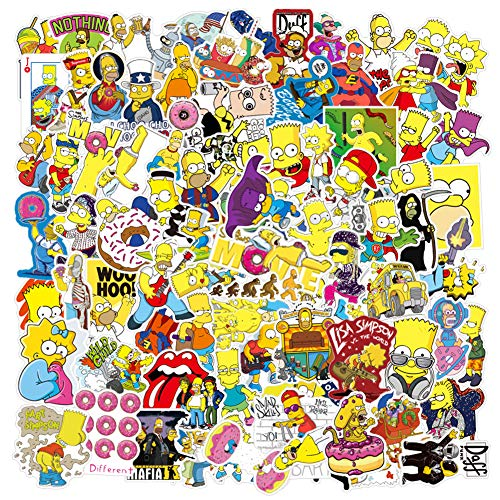 Laptop Sticker Pack (100Pcs) The Simpson Waterproof Vinyl Stickers for Water Bottles,Laptop,Kids,Cars,Motorcycle,Bicycle,Skateboard Stickers Hippie Decals Bomb