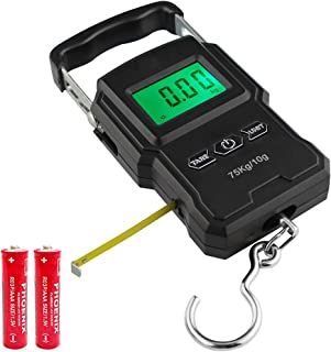 Cooltto Digital Fish Scale with Built-in Measuring Tape & Backlit LCD Display (2 AAA Batteries Included), 165lb/75kg Weight Capacity, Portable Luggage Weight and Electronic Hanging Scale with Hook