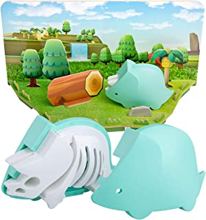 CubicFun Dinosaur Toys 2 in 1 Puzzle with Magnetic Shell and Paper Models Diorama Kids Toys Dinosaurs for 3 Year Olds and up, Triceratops Toy