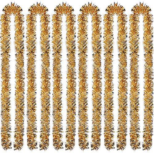 Sumind 6 Pezzi Orpello Natalizia 39,4 Piedi Ghirlanda Metallica Scintillante Decorazione Appesa per Albero di Natale Corona Forniture Festa di Nozze(Oro Argento)