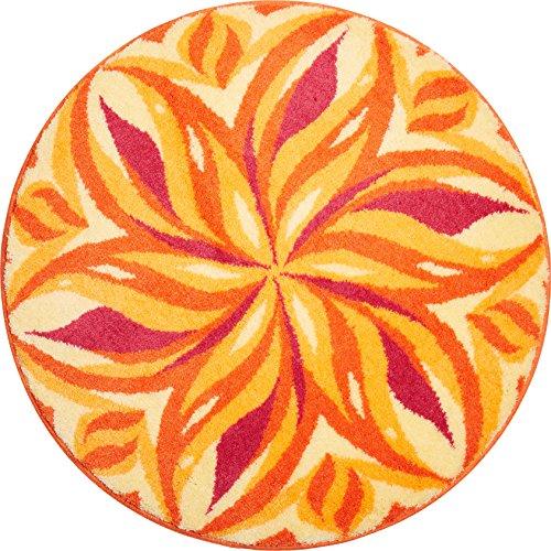 Grund Badteppich 100% Polyacryl, ultra soft, rutschfest, ÖKO-TEX-zertifiziert, 5 Jahre Garantie, TANZENDER HIMMEL, Badematte 60 cm rund, orange