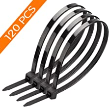 120 PCS 8 Inch Black Zip Cable Ties Heavy Duty, Premium Plastic Wire Ties with 50 Pounds Tensile Strength