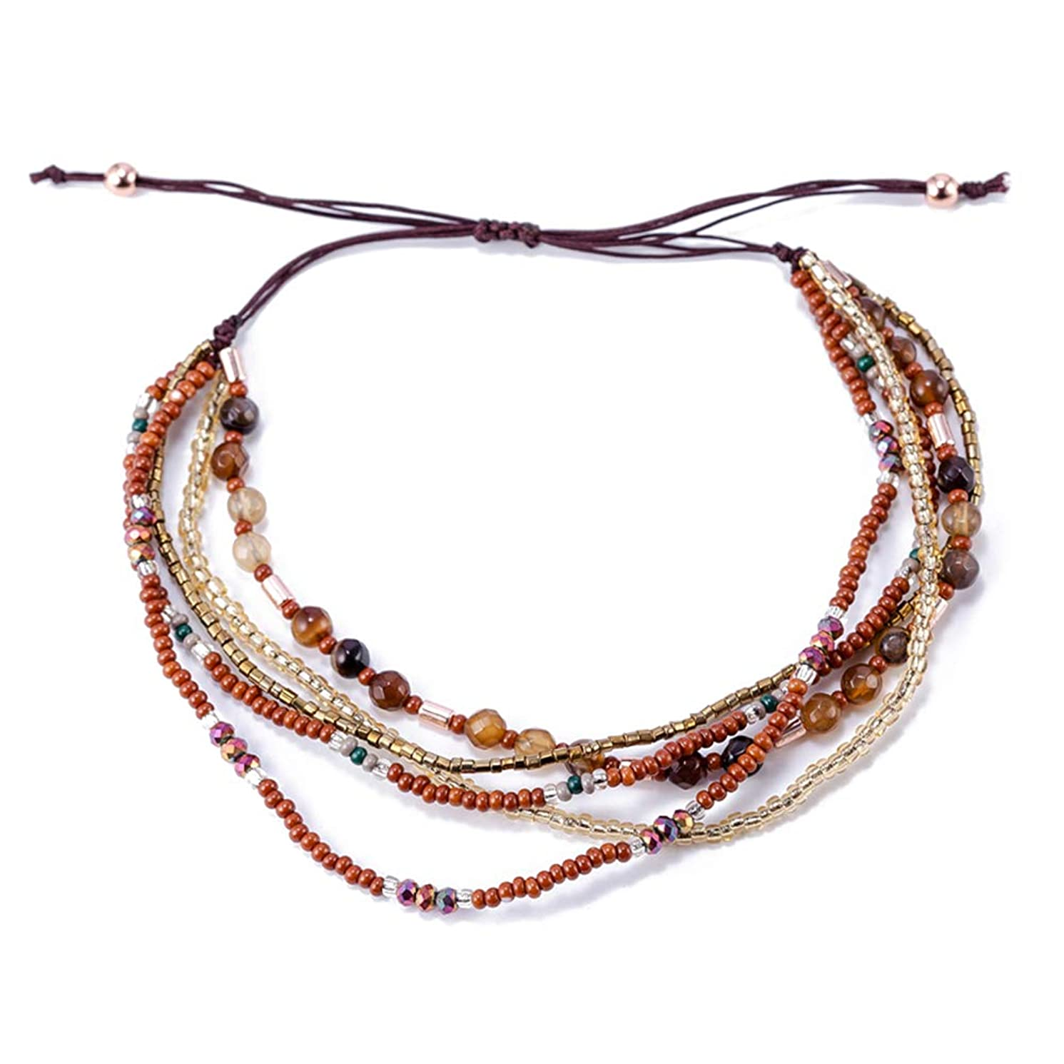 TOMLEE Multilayers Hand-Woven Colorful Beaded Chain Wrap Bracelet Adjustable Handmade String Braided Stretch Knot Crystal Beads Bracelets