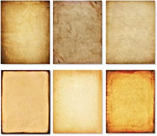 Stationary Paper - Old Fashion Aged Classic Antique & Vintage Assorted Design – Double-side Parchment Paper - Perfect for Certificate, Crafting, Invitations & other Art Projects - 8.5x11 Inches (60)