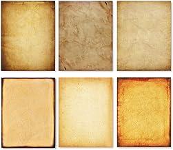 60 Hojas Papel Escritura Vintage, Papel Impresora Doble Labo 120GSM, Diseño de Pergamino Retro 6 Patrones Antiguos Surtidos 8.5 x 11 Pulgadas