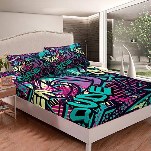 Hip-Hop - Juego de cama para niños, adolescentes, cultivos callejeros hippie, sábana bajera, diseño de graffiti, juego de sábanas de pared, 3 piezas, tamaño doble