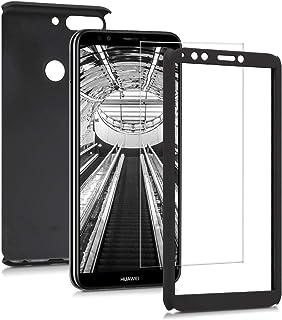 kwmobile skal kompatibel med Huawei Y7 (2018)/Y7 Prime (2018) – komplett skydd – inklusive skärmskydd – skal metallic svart