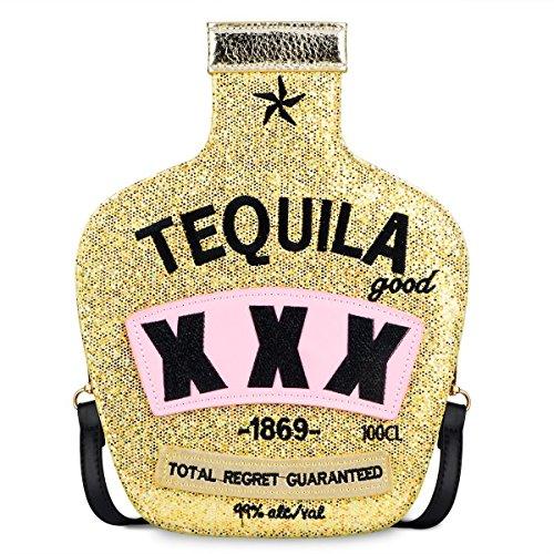 Sparkling Bag for Women, Ustyle Tequila Bottle Shaped Clutch Purse Elegant Handbag (gold)