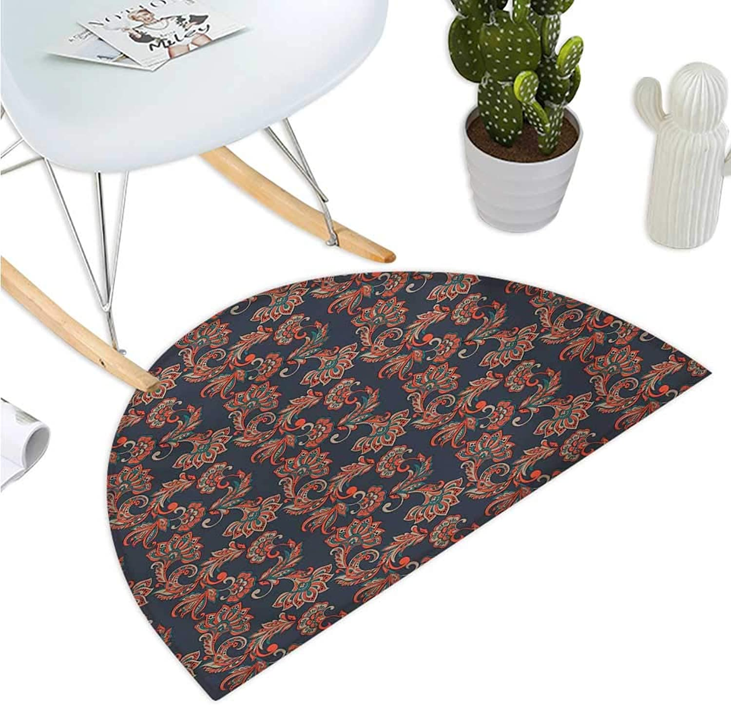 Ethnic Semicircular Cushion Ethnic Oriental Image with Floral Swirls and Leaves Artwork Image Bathroom Mat H 35.4  xD 53.1  Dark bluee Grey and Vermilion