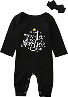 Zerototens Baby 3Pcs Christmas Romper Clothes Set 0-12 Months Newborn Infant Long Sleeve My 1st New Years 2021 Printing Romper Bodysuit Hat Boys Girls Jumpsuit Outfits Elastic Waist Long Pants