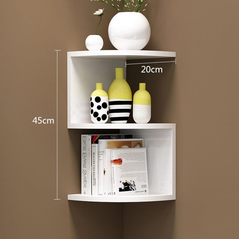 Corner Bookshelf,Shelf Storage Rack Wall-Mounted Wall Shelf Wall-Mounted Corner Rack Corner Triangular Wall Shelf-U 20x20x45cm(8x8x18)