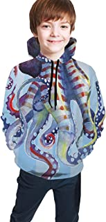 Cyloten Kid's Sweatshirt Octopus Cheveron Hoodie Teen's Thicken Sportswear Fleece Hood for Fall-Winter