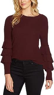 Womens Long Sleeve Tiered Ruffle Sleeve Sweater