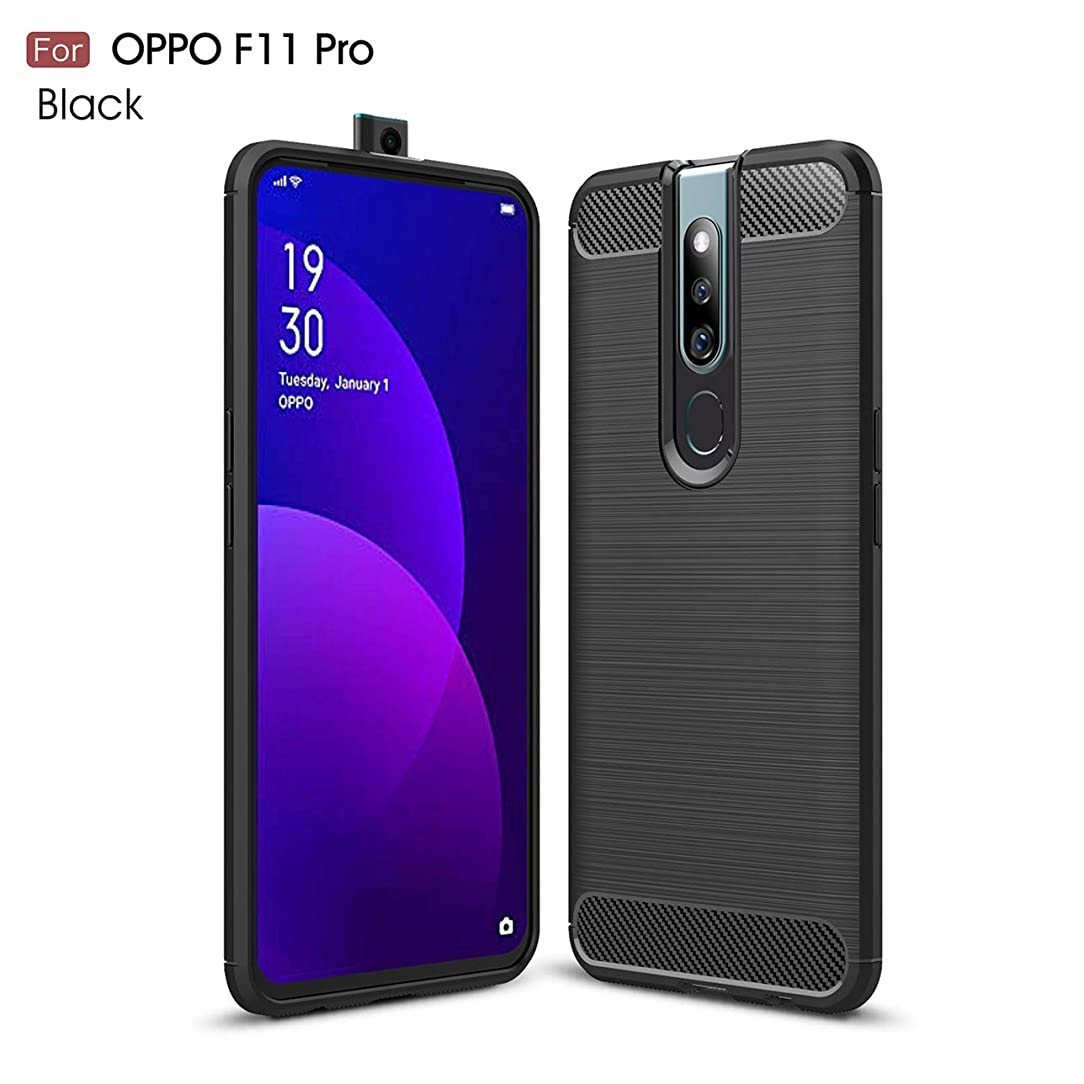 Oppo F11 Pro case,Silicone Shockproof Cover Durable Ultra Thin Carbon Fiber Soft Protection case for Oppo F11 Pro (Black)