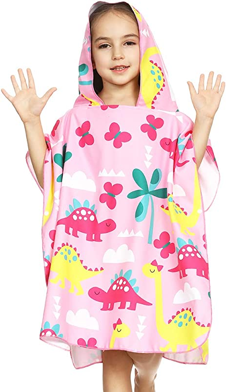 Eccbox Toddler Hooded Beach Towels For 1 To 6 Years Old Kids Bath Pool Swim Poncho Cover Ups Cape Extra Large 26x50 Ultra Breathable And Soft For All Seasons Dinosaur Theme Pink