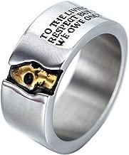 Oakky Men's Stainless Steel Skull Ring Cool Half Face Biker Bands Engraved Letters