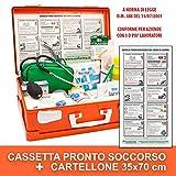 ONFARMA FARMA2 Cassetta Pronto Soccorso + Cartellone Istruzioni di Primo Soccorso cm 35x70