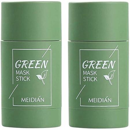 2PCS Green Tea Purifying Clay Mask,Green Tea Mask Stick,Deep Clean Pore,Face Moisturizes Oil Control,Improves Skin,for All Skin Types Men Women (GreenTea)