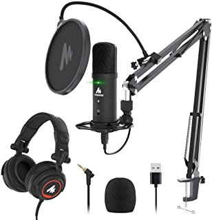 USB Microphone with Studio Headphone Set 192KHz/24Bit Zero Latency Monitoring MAONO AU-PM401H Computer Condenser Cardioid Mic with Mute Button for Podcasting, Gaming, YouTube, Streaming