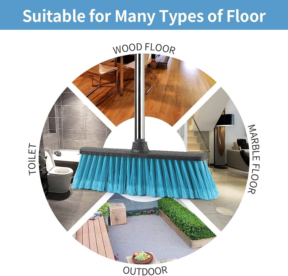 Floor Cleaning Broom with Adjustable Long Handle Plastic Brooms