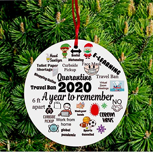 Handmade Christmas Ornaments 2020 Commemorative Plates Ornament Christmas Decorations Ceramics Xmas Tree Hanging Decor -A Year to Remember - Two Sided