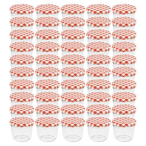 WELLGRO® Einmachgläser mit Schraubdeckel - 230 ml, 8,5 x 6,5 cm (ØxH), Glas/Metall, rot karierte Deckel To 82, Gläser Made in Germany, verschiedene Mengen wählbar, Stückzahl:50 Stück