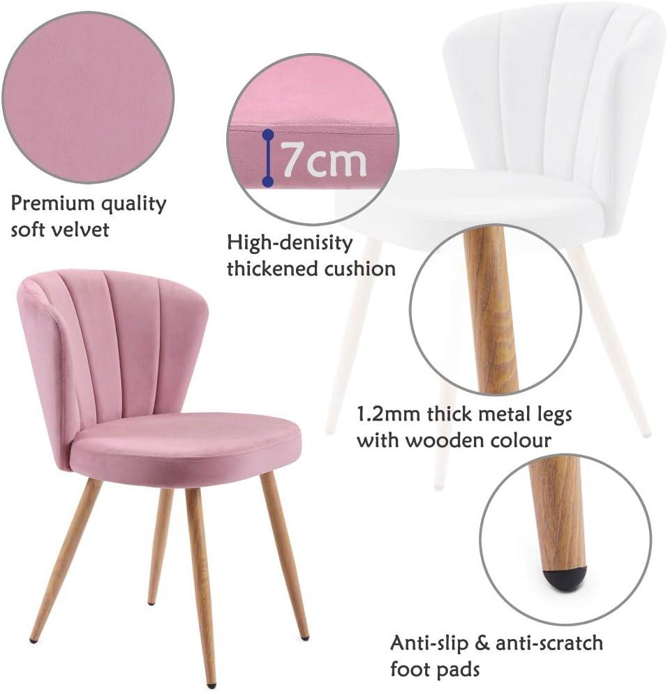 jeerbly Lot de 1 ou 2 chaises de salle à manger en tissu velours Oyster avec dossier cousu pour salon, chambre à coucher (vert, 2) 2 roses.