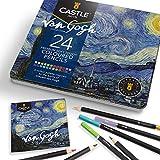 Castle Arts 24 lápices de colores en un estuche de metal, inspirado en Van Gogh. Perfecto para dibujar, hacer bocetos, colorear. Con núcleos blandos, mezcla superior y juego de capas