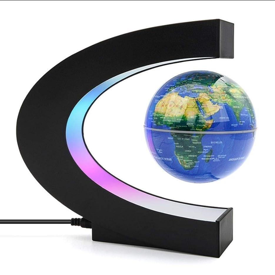 ガソリンスパイラル絶え間ないC字型の磁気浮上グローブ360度回転世界地図3インチのクラフトホームオフィスのデスクトップデコレーション付きLEDライト (Color : Blue)