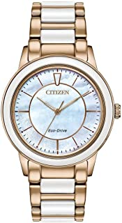 Citizen Women's Eco-Drive Watch with Stainless Steel and White Ceramic Strap, Rose Gold, 19 (Model: EM0743-55D)