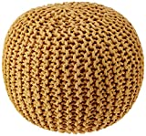 """REDEARTH Round Pouf Foot Stool Bean Bag Ottoman - Knit Braided Cord Boho Pouffe Poof Accent Beanbag Chair Footrest for The Living Room, Bedroom, Nursery, Patio, Lounge (19""""x19""""x14""""; Mustard)"""