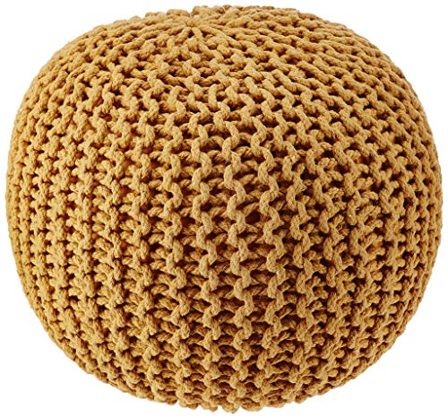 REDEARTH Round Pouf Ottoman -Poof Pouffe Accent Chair Circular Seat Footrest for Living Room, Bedroom, Nursery, kidsroom, Patio, Gym; 100% Cotton (19x19x14; Mustard)
