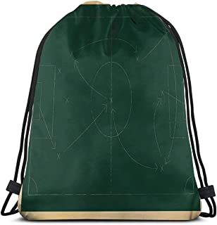 Printed Drawstring Backpacks Bags,Tactic Diagram With Pass And Goal Arrangement Attacking Defending Chalkboard,Adjustable String Closure