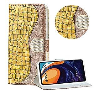 Diamant Brieftasche Hülle für Galaxy A60,Gold Wallet Handyhülle für Galaxy A60,Moiky Ultra Dünn Stilvoll Laser Glitzer Farbe Block Klappbar Stand Silikon Handytasche