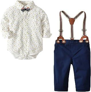 ALLAIBB Baby Infant Boys Gentleman Formal Outfit 4Pcs Pants Set Wedding Tuxedo Suit Size 24M (Beige)