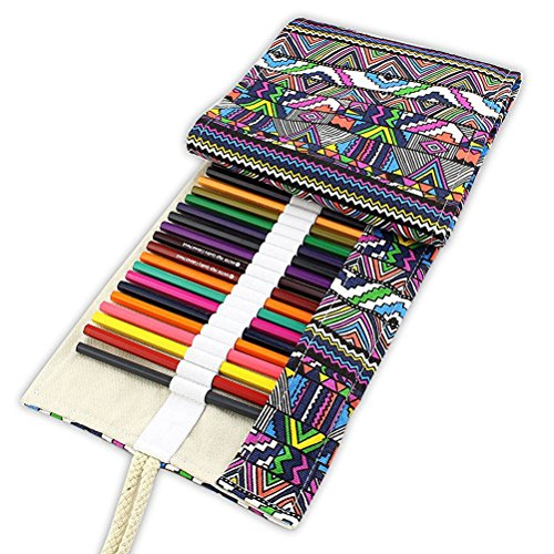 Tinksky Leinwand bunt Bleistift Bleistift Fall 48Roll Wrap für Set-Farbstifte (48Slot Bleistift Wrap)