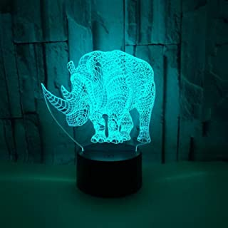 IWMAMO 3D Night Light Baby Children Sleep Lamp LED Bedroom 7 Change Color Home Decoration Christmas Gifts Kid Toy Colorful Rhinoceros Remote Control