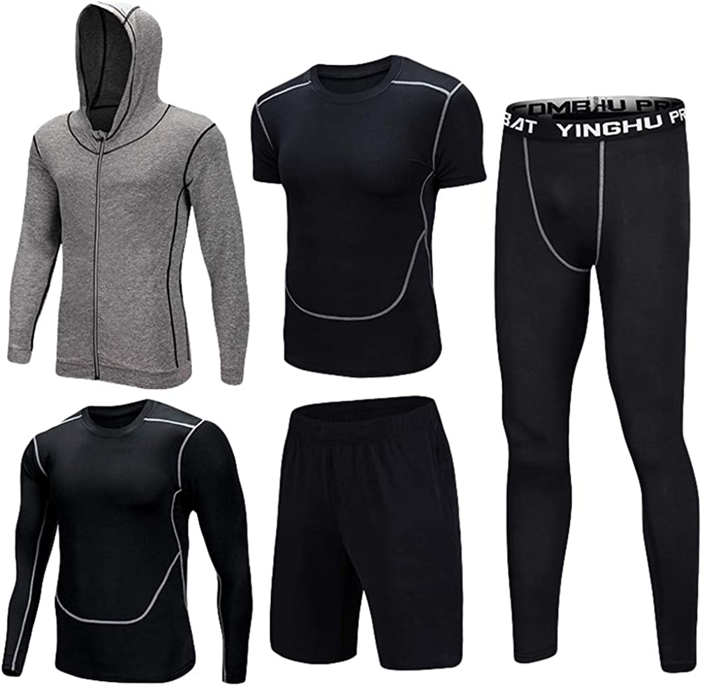 Zengbang Fitness Gym Suit Mens 5 Piece Running Training Set Hooded Jacket Sport Tracksuit