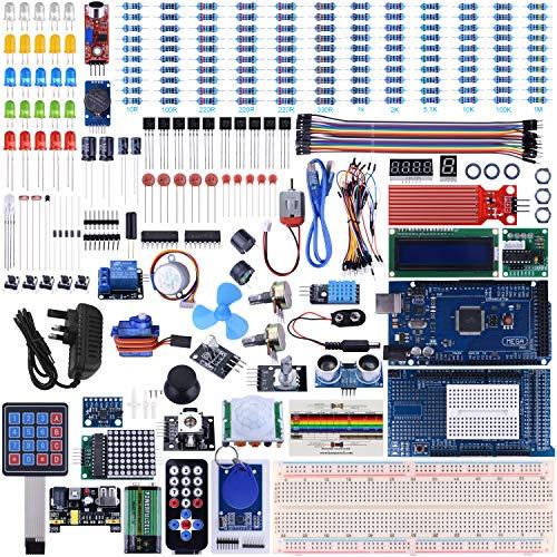 UNIROI Arduino Mega2560 UNO Kit con tutoriales, Kit de Inicio Completo con módulo de relé de 5 V, Tarjeta de Resistencia, Motor DC, Detector de Movimiento y más (242 artículos) Blanco Blanco UA003