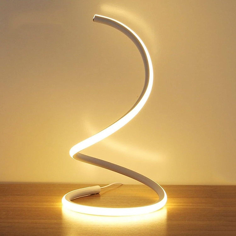 Vampsky 16 watt einfache kreative spirale led tischlampe moderne acryl led schreibtisch licht schlafzimmer nachttischlampe arbeit studie auge licht minimalistischen platzsparende design smart wohnzimm