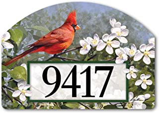 Yard DeSigns Studio M Cardinal in Blossoms Spring Summer Birds Decorative Address Marker Yard Sign Magnet, Made in USA, Superior Weather Durability, 14 x 10 Inches