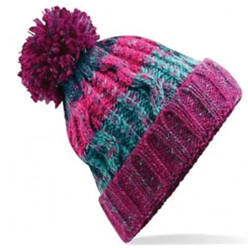 138ff0cd749 Beechfield Unisex Adults Corkscrew Knitted Pom Beanie Hat