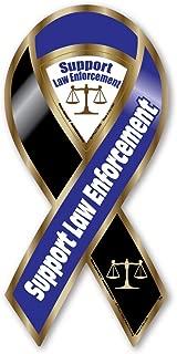 Support Law Enforcement Blue/Black Large Ribbon Magnet